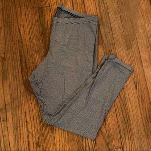 Navy Blue & Cream Striped Leggings Size XL